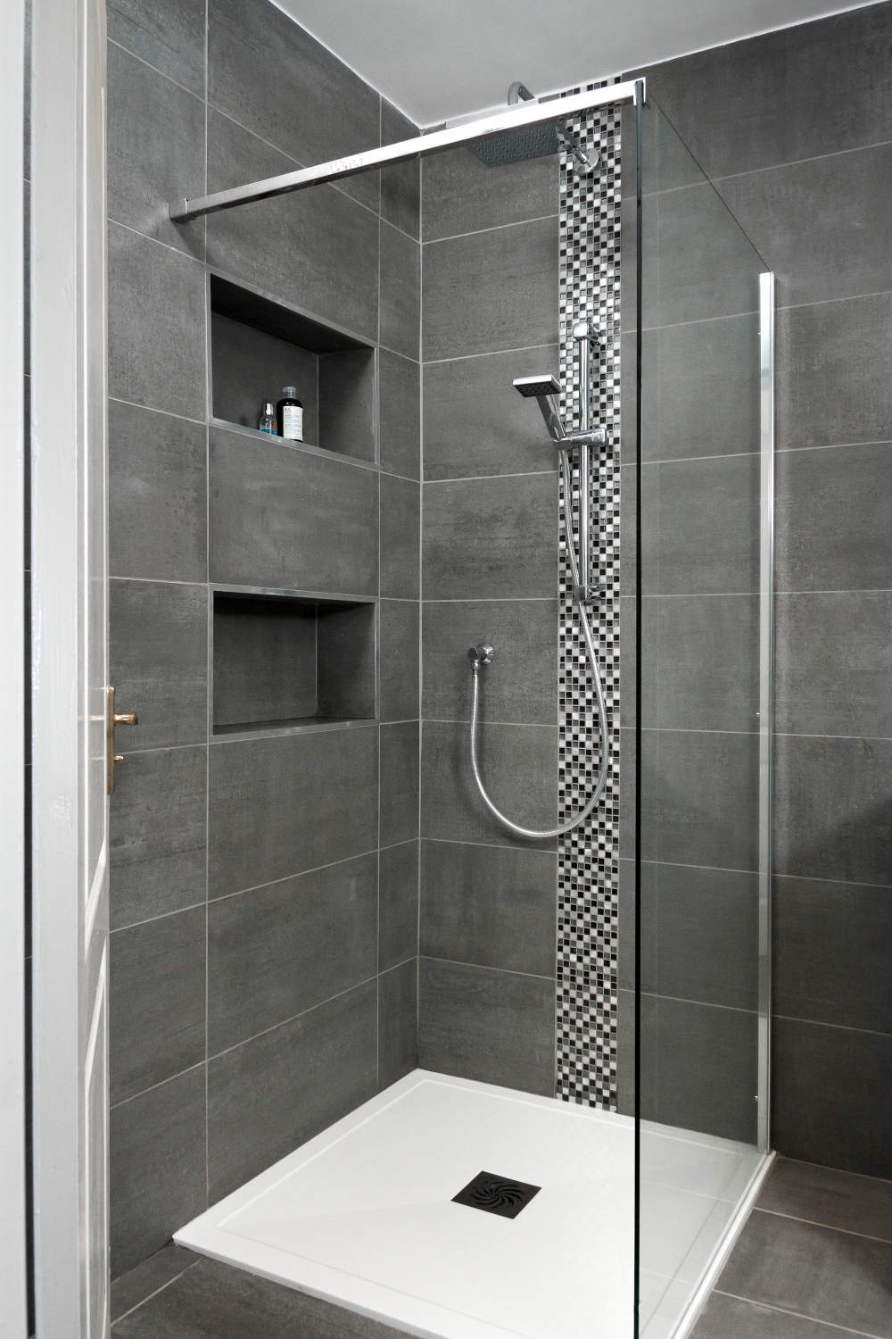 Grey tiled luxury shower