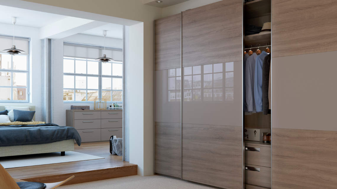 sliding wardrobe with three piece design style