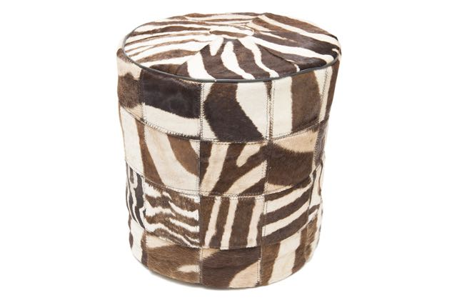 Zebra patch pouffe