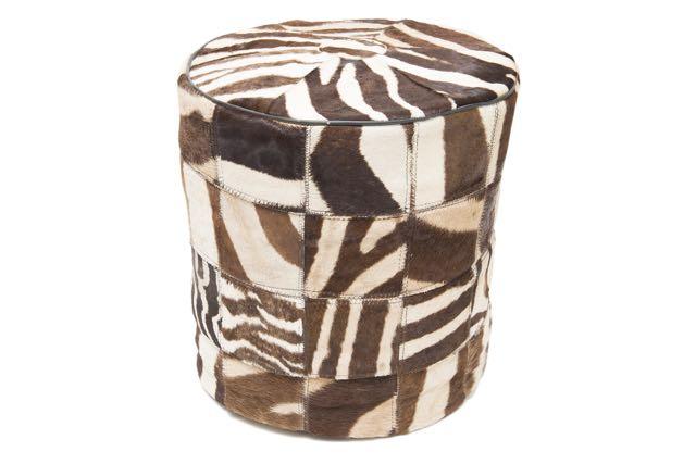 Zebra patch pouffe