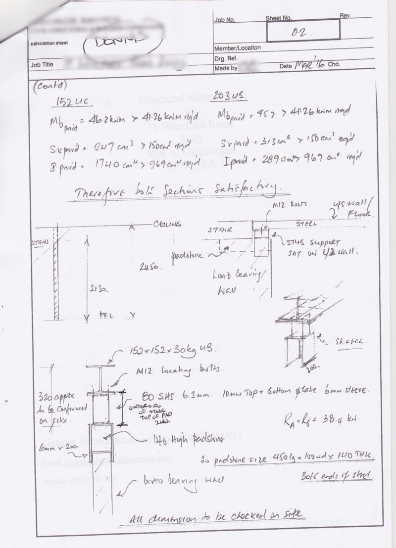 an example of structural engineer calculations