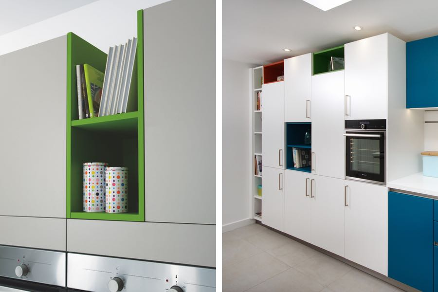 Schuller open shelving adds a splash of colour