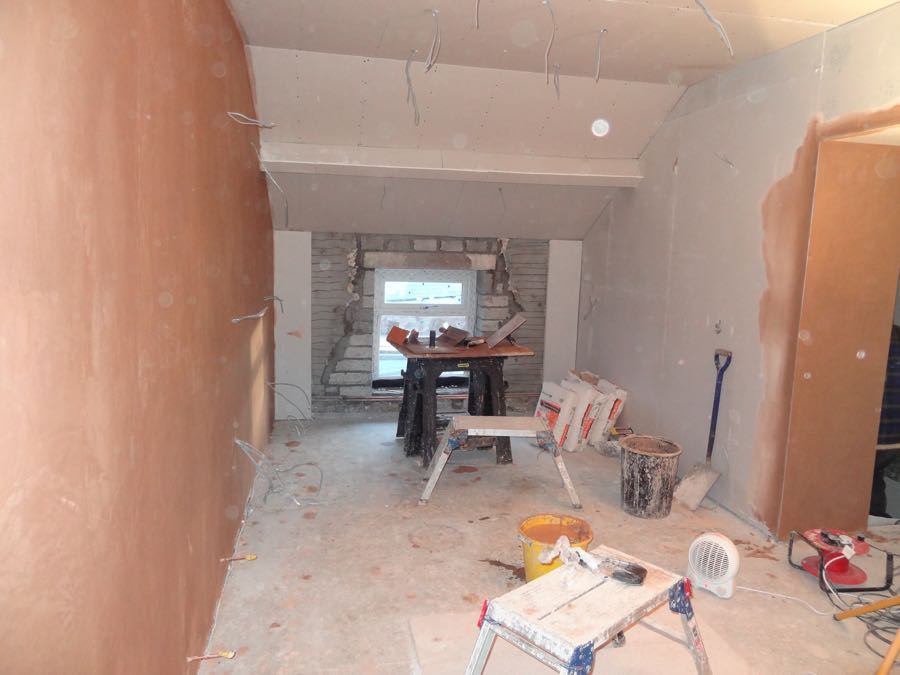 plastering for a new kitchen