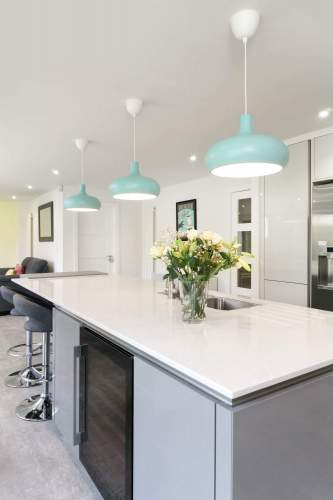 Gorgeous pendant lights above the kitchen island