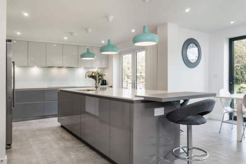 Stone Grey Gloss kitchen island
