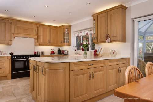Open plan oak kitchen